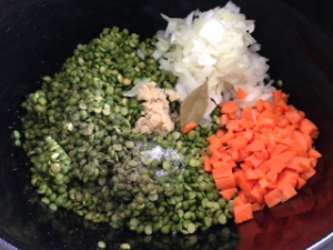 split peas, onion, garlic, carrots, bay leaf, salt and pepper