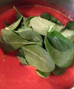 nice handful of baby spinach