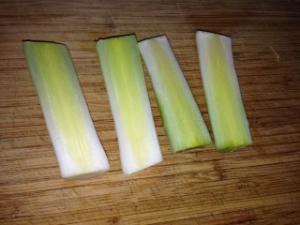 cut leeks in half