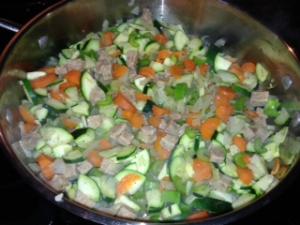 sauteed onions, garlic, carrots, celery and zuchini