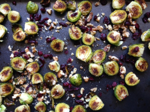 brussel sprouts, walnuts, cranberries
